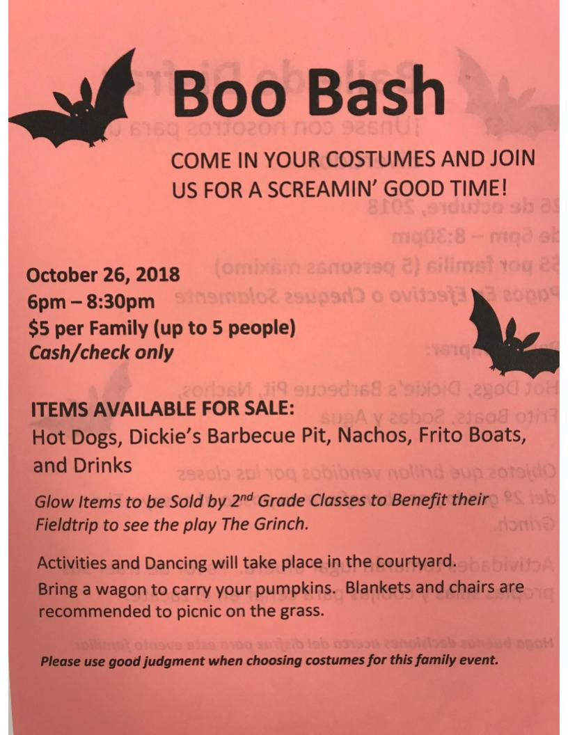 Boo Bash Flyer in English