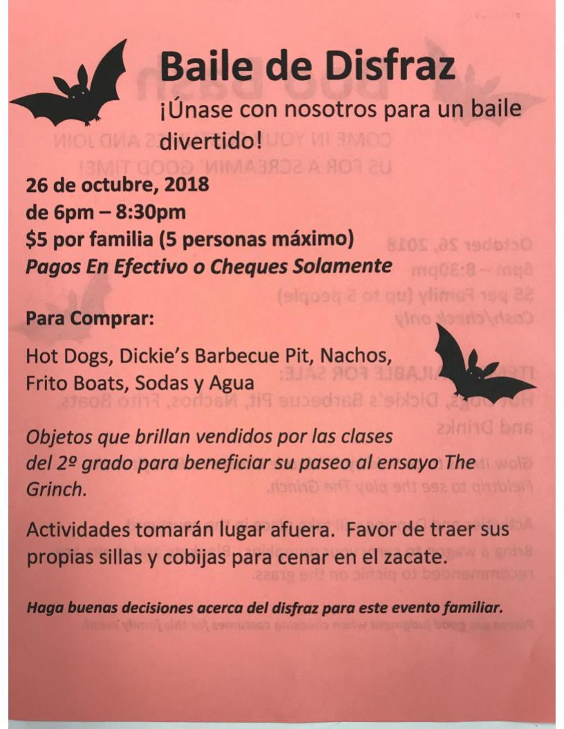 Boo Bash Flyer in Spanish