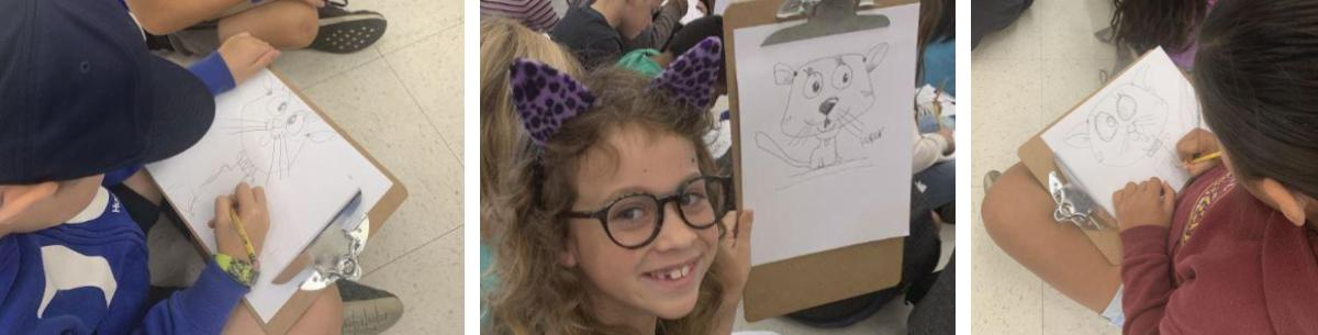 Students drawing cartoon cats